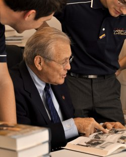Donald Rumsfeld Signs Books at NRA Annualing Meeting in Pittsburgh