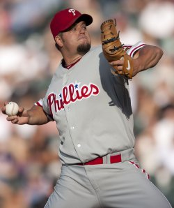 Phillies Pitcher Blanton Throws Against the Rockies in Denver