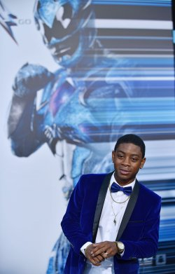 RJ Cyler attends the 'Power Rangers' premiere in Los Angeles
