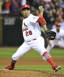St. Louis Cardinals Octavio Dotel pitches in relief in the seventh inning in game 7 of World Series in St. Louis