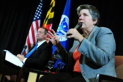 Secretary of Homeland Security Janet Napolitano and. Gov. O'Malley speak on nationals security in College Park, Maryland