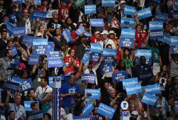 Supporters of Sen. Bernie Sanders make their voices heard at the DNC in Philadelphia