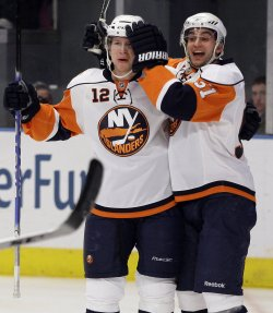 New York Islanders Frans Nielsen (51) and Josh Bailey react at Madison Square Garden in New York at Madison Square Garden