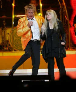 Rod Stewart and Stevie Nicks perform in concert at Madison Square Garden in New York