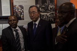 UN Secretary General Ben Ki-moon honor the life of Nelson Mandela in Johannesburg