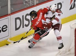 Blackhawks' Hjalmarsson and Coytoes' Gordon go for puck in Chicago