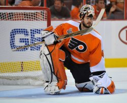 Flyers goalie Michael Leighton during the 2010 Stanley Cup Final