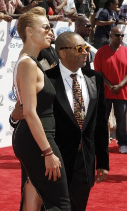 Director Spike Lee (R) and Tonya Lewis attend BET Awards 12 in Los Angeles