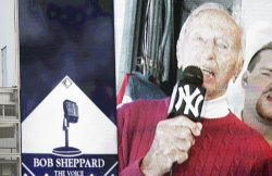 A video of Bob Sheppard singing is played for the fans between innings at Yankees Stadium in New York