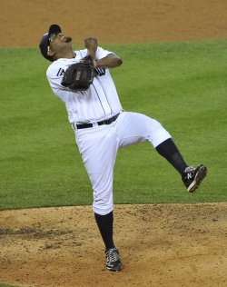 Tigers Valverde reacts against Rangers during ALCS in Detroit, Michigan