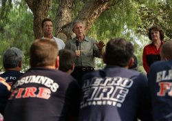 U.S. President Bush visits California to see wildfire damage
