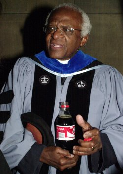 Archbishop Desmond Tutu and Pete Seeger take part in Columbia Univ. Teachers College graduation