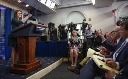 Sanders conducts a news conference