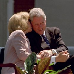 President and First Lady Clinton at first stop on train tour, West Virginia