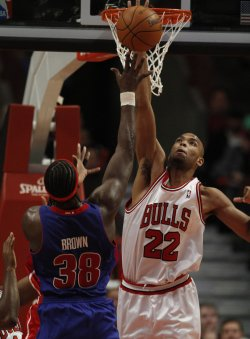 Bulls' Gibson blocks Pistons' Brown's shot in Chicago