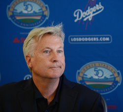 Mark Walter participates in a news conference to announce Dodgers blockbuster trade in Los Angeles