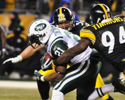 Jets LaDainian Tackled by Steelers Timmons and Foote in Pittsburgh