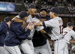 Detroit Tigers closer Jose Valverde reacts at the end of game 5 of the ALDS at Yankee Stadium in New York