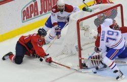 Capitals Gordon attempts shot against Canadiens during game 7 in Washington