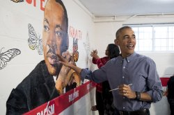 Barack Obama participates in service event for Martin Luther King Jr. Day