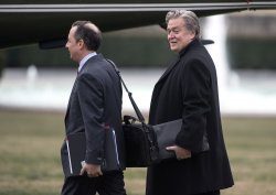 Steve Bannon and Reince Priebus leave the White House