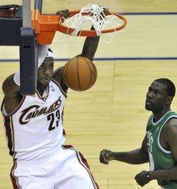 Cavaliers James slam dunk against Celtics in Cleveland