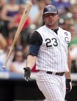 Rockies Giambi Flips His Bat After Strikeout Against the Giants in Denver