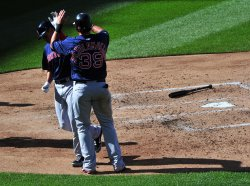 Red Sox Jarrod Saltalamacchia celebrates with teammate Mike Aviles in Washington