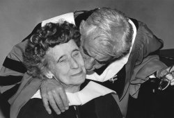 Composer-conductor Leonard Bernstein kisses his former piano teacher Helen Grace Coates
