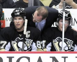 Penguins Sidney Crosby and Coach Dan Bylsma in Pittsburgh