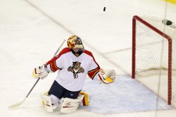 Panthers Scott Clemmensen makes a save in New Jersey