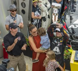 Jeff Gordon gets Brickyard trophy from John Wayne Walding