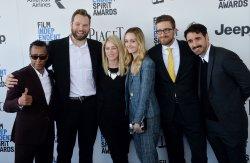 Andre Royo, Joshua Locy, April Lamb, Sara Murphy, Michael Angelo Covino and Isaiah Smallman attend Film Independent Spirit Awards in Santa Monica, California