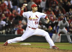 Cardinals pitcher Fernando Salas delivers during game 2 of the World Series in St. Louis
