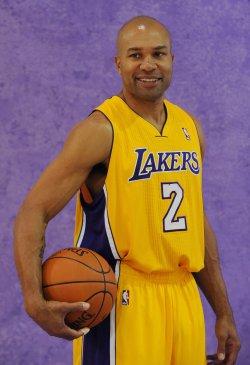 Derek Fisher participates in Lakers' media day in El Segundo, California