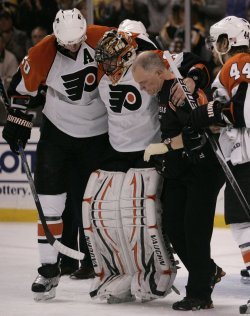 Flyers Boucher injured in Game 5 of the NHL Eastern Conference Semi-Final in Boston, MA.