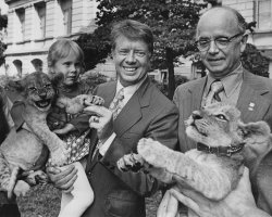 Governor Jimym carter, daughetr Amy, and Lt. governor Maddox hold lion cubs