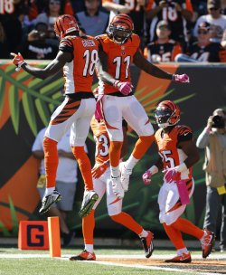 Bengals Brandon LaFell celebrates touchdown with A.J. Green