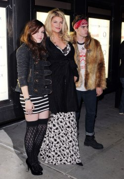 "Kirstie Alley with children William True and Lillie Price arrive at the premiere of ""The Runaways"" in new York"