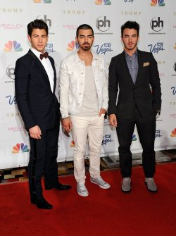 Jonas Brothers arrive at the 2013 Miss USA competition in Las Vegas