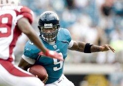 Jacksonville Jaguars quarterback David Garrard scrambles against Arizona Cardinals