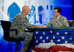 Stephen Colbert visits soldiers on USO tour in Baghdad