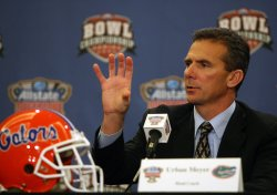 University of Florida Coach Urban Meyer speaks with the media