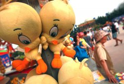 Tweety Bird is a prize at a game booth in Qingdao