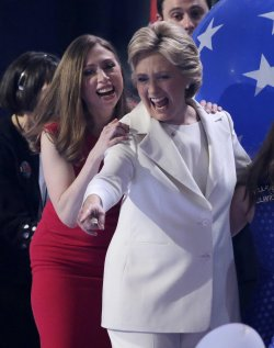 Chelsea Clinton and Hillary Clinton at DNC