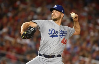 Dodgers' Rich Hill delivers during NLDS Game 4