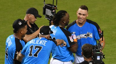 Yankees Judge Congratulated by Sano at the 2017 MLB Home Run Derby in Miami, Florida