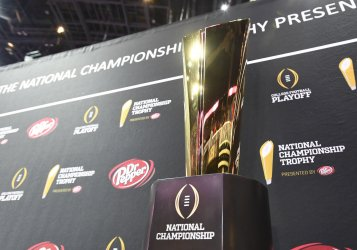 Championship trophy during 2018 College Football Championship Media Day