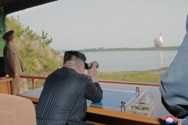 North Korean Leader Kim Jong Un Supervises Military Rocket Testing
