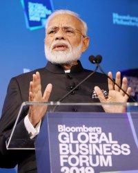 India Prime Minister Narendra Modi speaks at the Bloomberg Global Business Forum in New York